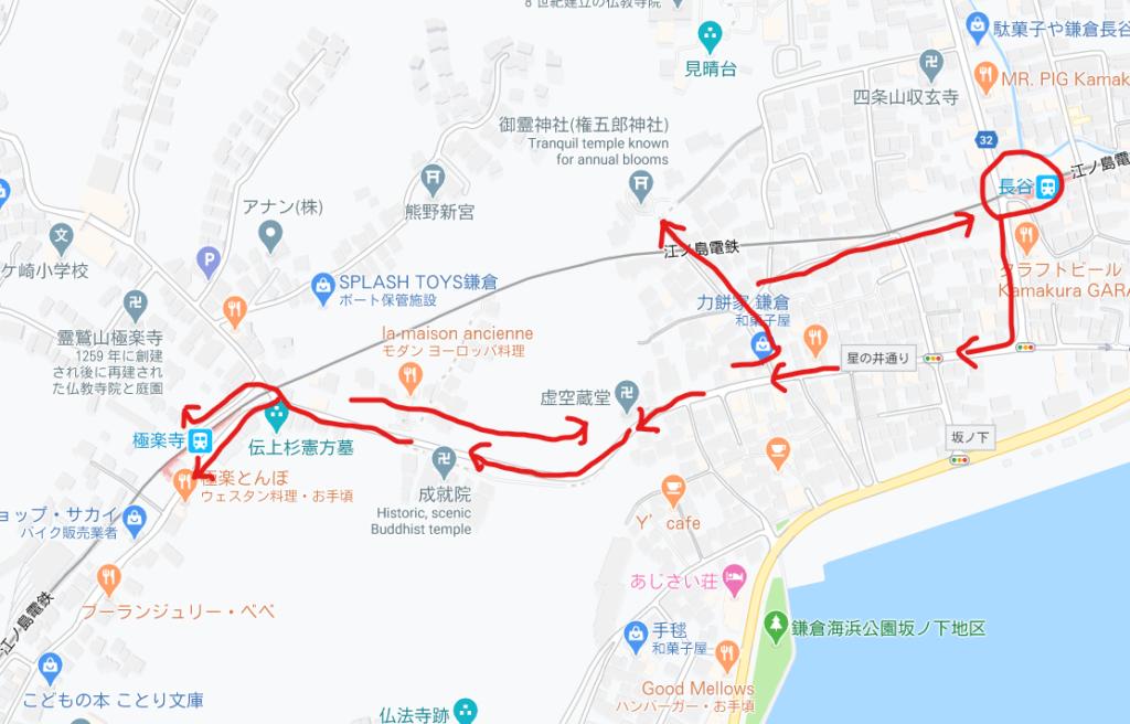 長谷~極楽寺の地図/Map from Hase to Gokurakuji