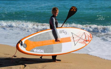 SUP ボードの持ち方 風下にボード(Web画像から)