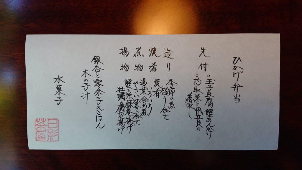 「ひかげ弁当」お品書き / Lineup of Hikage Bento (Lunch Box)
